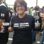 Amanda looking fabulous in her Pure Geekery Shirt.
