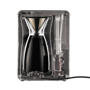 Back of Bodum pour over coffee maker.
